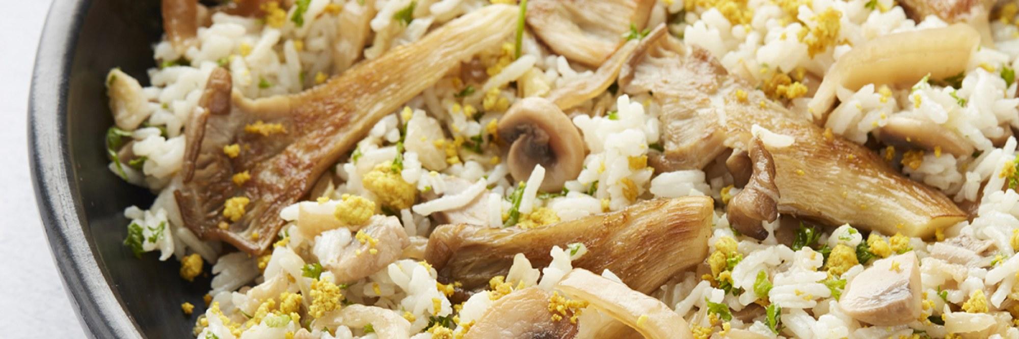 Nasi goreng aux 'oeufs' brouillés et pleurotes