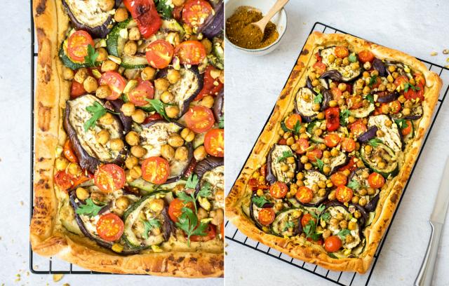 Tarte au Houmous et légumes grillés